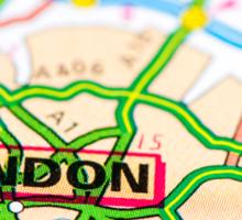 Close-up on London city on map, travel destination concept Sticker