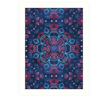 Cherry Red & Navy Blue Watercolor Floral Pattern Art Print