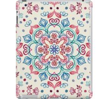 Pastel Blue, Pink & Red Watercolor Floral Pattern on Cream iPad Case/Skin