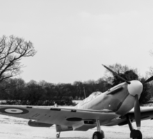 Spitfire in the snow black and white version Sticker