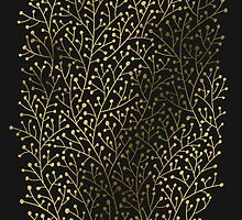Gold Berry Branches on Black by Cat Coquillette