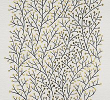 Gold & Black Berry Branches by Cat Coquillette