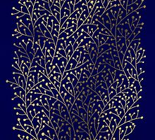 Gold Berry Branches on Navy by Cat Coquillette