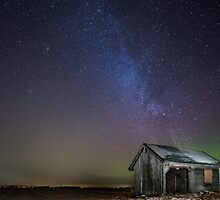 Lightpainted barn at night time by harriaho