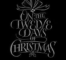 Chalkboard Lettering '12 Days of Christmas' Elegant Trendy Chalk Wall Art by 26-Characters