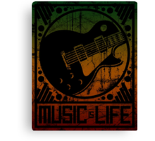 Music is Life: Guitar Canvas Print