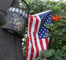 Patriotic Welcome; Wat Garden, La Mirada, CA USA (*challenge note 1;Vertical Lines on Can/Vertical Angle of lines of Flag; Challenge note 2; Commerative 911 Dedication 911 Read Description))  by leih2008