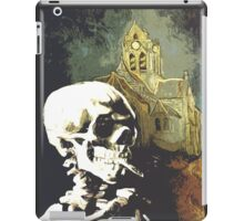 Skull with burning cigarette at Auvers church  iPad Case/Skin