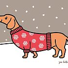 Christmas Dachshund in the Snow by zoel
