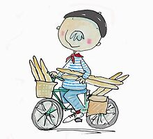 French Man on a Bicycle with Baguettes by AndyLanhamArt