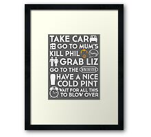 SHAUN OF THE DEAD TO TO LIST Framed Print