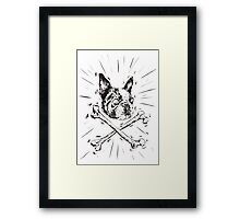 Pirate Boston Terrier Flag Framed Print
