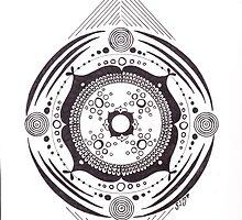 Earth Cosmos ~ B & W Mandala by Sharon Morgan