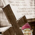 Graveyard Adornments #45 ... Gnome with Cross by Malcolm Heberle