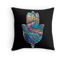 Rainbow Holographic Hamsa Throw Pillow