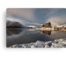 Eilean Donan Castle in Winter, Loch Duich, Scotland. Canvas Print