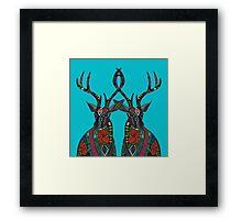 poinsettia deer blue Framed Print