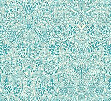 Detailed Floral Pattern in Teal and Cream by micklyn