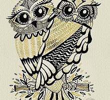 Owls – Black & Gold on Cream by Cat Coquillette