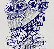 Owls – Silver & Navy by Cat Coquillette