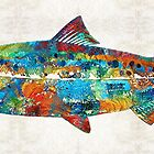 Fish Art Print - Colorful Salmon - By Sharon Cummings by Sharon Cummings