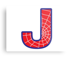 J letter in Spider-Man style Metal Print