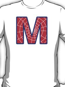 M letter in Spider-Man style T-Shirt