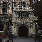 North door at front of Malvern Priory Great Malvern England 198405180058m  by Fred Mitchell