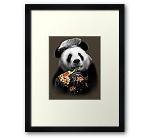 PANDA LOVES PIZZA Framed Print