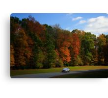 New GMC Arcadia SUV Driving through the fall foliage  on the Natchez Trace Nashville Canvas Print