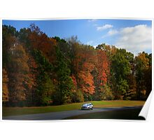 New GMC Arcadia SUV Driving through the fall foliage  on the Natchez Trace Nashville Poster