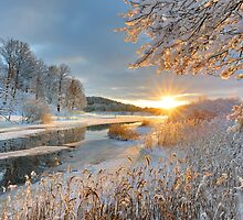 Winter landscape over Storan river by Mikael Svensson