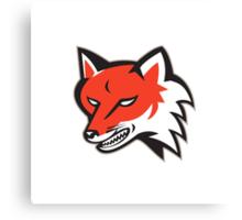 Red Fox Angry Head Retro Canvas Print