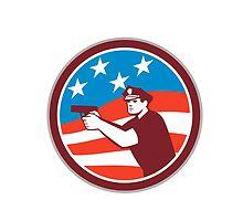 Policeman With Gun American Flag Circle Retro by patrimonio