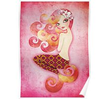 Coraleen, Mermaid in Pink Poster
