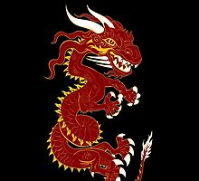 Red Dragon with Golden Style by Dave Stephens