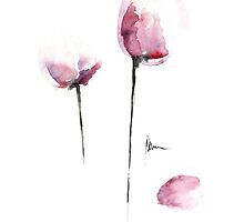 Tulips decorations for kitchen, flowers home decor artwork by Joanna Szmerdt