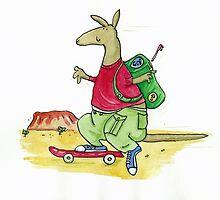 Skateboard Kangaroo Backpacker  by AndyLanhamArt