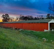 Medora Covered Bridge at Sundown by Kenneth Keifer