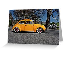 Yellow Volkswagen Beetle on Angas Creek Road Greeting Card