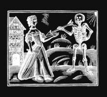 Death and the Maiden - woodcut - white on dark by Pixelchicken