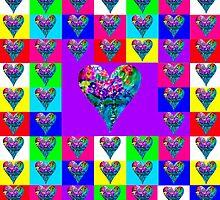 Purple Floral Hearts Designer Art Gifts by innocentorigina