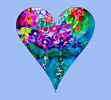 Periwinkle Floral Heart Designer Art Gifts by innocentorigina