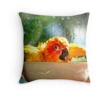 I'm Singing In The Rain..!!! - Sun Conure - NZ Throw Pillow
