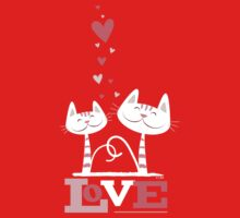 2 Cats in Love Kids Clothes