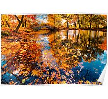 Boston Fall Foliage Reflection Poster