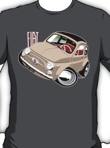 Classic Fiat 500F caricature beige T-Shirt