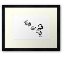 Girl and the fish Framed Print