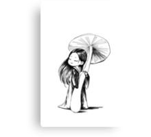 Girl under the mushroom Canvas Print