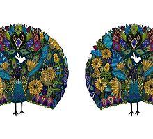 peacock garden white by Sharon Turner